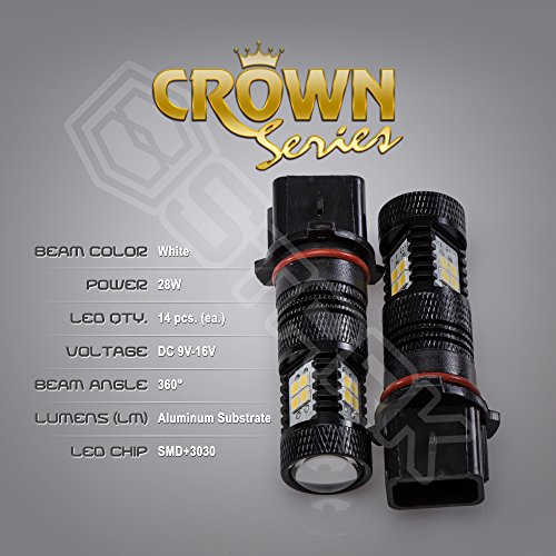Price comparison product image 2x 28W Kit 3000 lm Bulbs - Crown Series 3030 Max Intensity - 14 pcs SMD Chip Projector DRL or Fog Lights - P13W - White