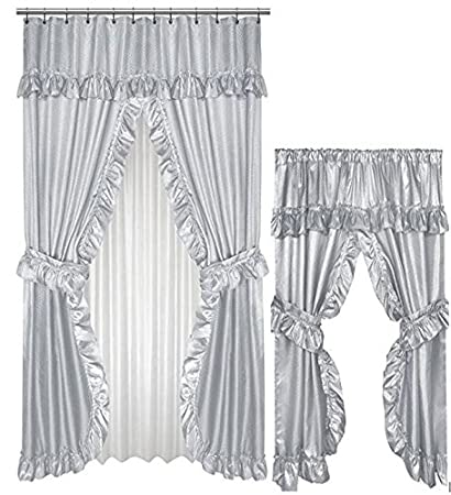 Amazon Home Fashions Grey Double Swag Shower And Window Curtain