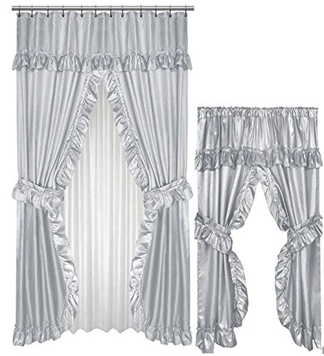 - Home Fashions Grey Double Swag Shower and Window Curtain Set with Liner