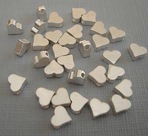 - BeadsTreasure 10pcs- Matte Silver Flat Heart Beads, Wholesale Brass Beads, Beading Supplies, Jewelry Making.