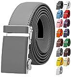 grey belt - Falari Men's Genuine Leather Ratchet Dress Belt Automatic Sliding Buckle 8168-DGY-M36