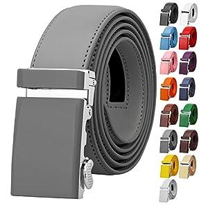 Falari Men Unisex Genuine Leather Ratchet Dress Belt Automatic Sliding Buckle – 20 Variety Colors – Trim to Fit