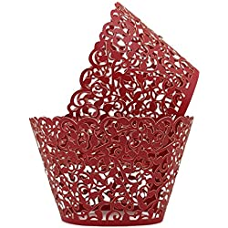 KEIVA Pack of 100 Vine Cupcake Holders Filigree Artistic Bake Cake Paper Cups Vine Designed Decor Wrapper Wraps Cupcake Muffin Paper Holders for Wedding Party Birthday Decoration (100, Red)