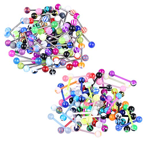 CrazyPiercing 110 Pcs 14G Tongue Rings Mixed Colors Ball Surgical Steel & Acrylic Bioflex Bar Nipple Ring (55pcs Acrylic bar & 55pcs Stainless Steel bar)