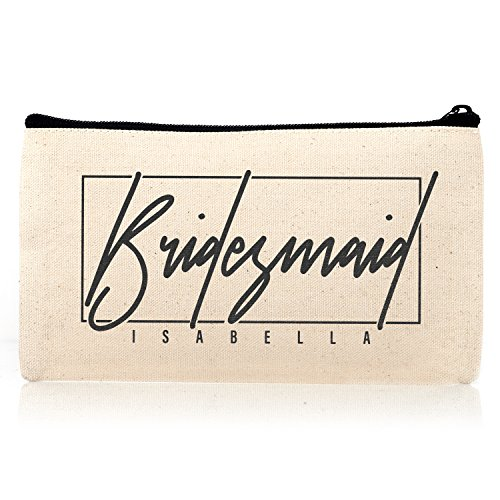 Personalized Cosmetic Bag Travel Makeup Pouch Wedding Bridal Party   DSG#20   set of 6 by Sugar Yeti