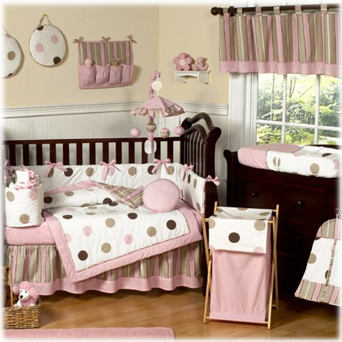 Sweet Jojo Designs 9-Piece Contemporary Pink and Brown Modern Polka Dot Baby Girl Bedding Crib Set -