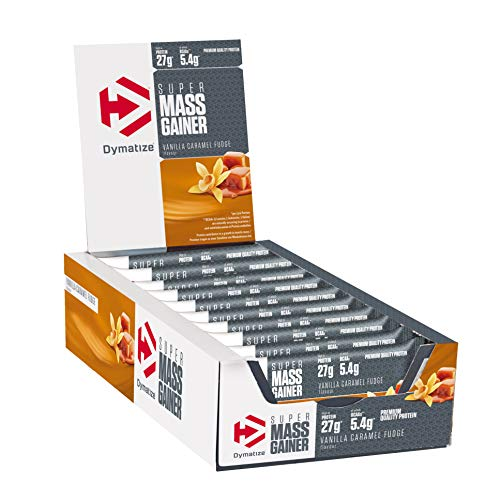 Dymatize Super Mass Gainer Bar Vanilla Caramel Fudge 10x90g - Barra de alto Peso Proteínico + Suero y Proteína de Caseína