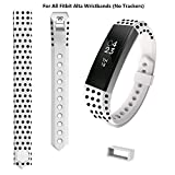 COOSA Wristband Replacement Polka Dot Accessory Band for Fitbit Alta Ergonomically Designed for Men Women and Kids(Available in 18 Colors and 2 Sizes) (White, Small)
