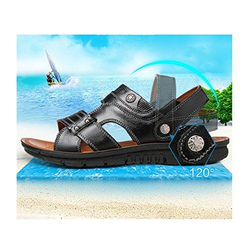 Sandali Da Estate In Open Sandali Black Da Toe Scarpe Pelle Pantofole HGDR Uomo Back Spiaggia Sandali Sling qzpP1P