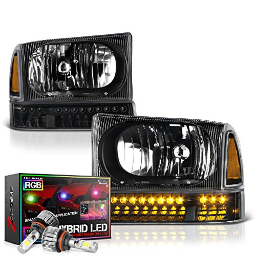 VIPMOTOZ Black Headlight & LED Turn Signal Corner Lamp Assembly Set For 1999-2004 Ford Superduty F-250 F-350 Pickup Truck & Excursion, Built-In Rainbow RGB LED Low Beam, Driver & Passenger Side (F-250 Ford Pickup 1999)