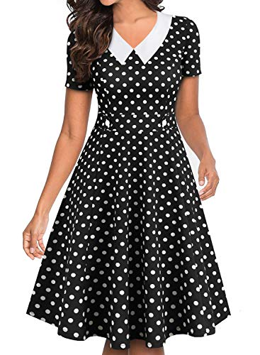 YATHON Dresses for Women Vintage 50's White Black Dot Short Sleeve Cute Button Knee-Length Plus Size Flared Party Cocktail Swing Casual Retro Dresses (XL, YT021-Black Dot)]()