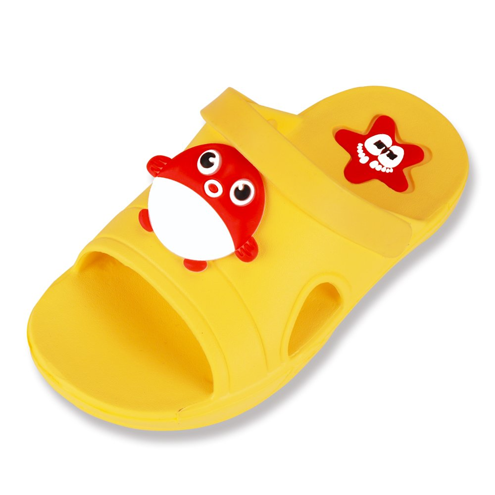 Cuby Summer Kid Shoes Antiskid Bathroom Home Indoor Slippers (9M/28 US Toddler, Yellow Fish)