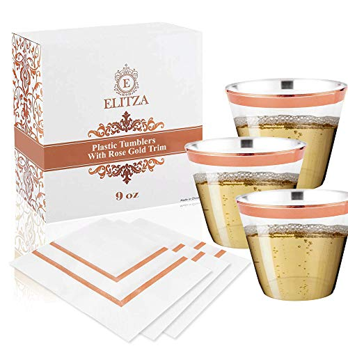 Elitza 9oz Rose Gold Plastic Cups - Tumblers with Rose Gold Pink Rim 50 count | BONUS 50 Napkins with Rose Gold Trim | Disposable Reusable Rose Gold Rimmed Cups for Weddings Parties Showers Events