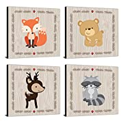 "Big Dot of Happiness Woodland Creatures - Nursery Decor - 11"" x 11"" Nursery Wall Art - Set of 4 Prints for Baby's Room"