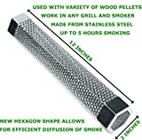 "Premium Pellet Smoker Tube 12"" - for any Grill or Smoker, Hot or Cold Smoking - Easy, safety and tasty smoking - Hexagon shape - Stainless steel - Free eBook Grilling Ideas and Recipes - LizzQ"