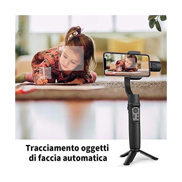 Stabilizzatore Gimbal – 3 Assi Stabilizzatore Smartphone Spruzzi d'acqua Prova con 6 Modalità Treppiedi e 3600mAh Batteria, Gimbal Smartphone iOS&Android Caricamento 280g, Adatto Samsung/Huawei/iPhone 5 spesavip