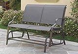 LIZKONA 1Perfectchoice Outdoor Patio Yard Glider Loveseat Bench Textile Mesh Seating, Dark Grey