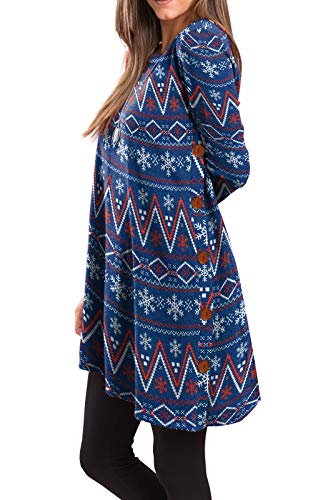 Christmas Winter Outfit - iGENJUN Women's Long Sleeve Scoop Neck Button Side Christmas Tunic Dress,XL,MX-14