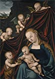 Oil Painting 'Cranach Lucas The Virgin With The Christ Child Saint John And Angels 1536' 16 x 23 inch / 41 x 58 cm , on High Definition HD canvas prints, gifts for Foyer, Game Room And Living decor