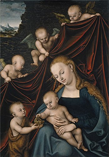 Oil Painting 'Cranach Lucas The Virgin With The Christ Child Saint John And Angels 1536' 12 x 17 inch / 30 x 44 cm , on High Definition HD canvas prints, gifts for Foyer, Game Room And Living decor