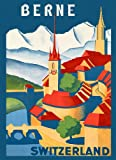 """See Visit Berne Landscape Switzerland Travel Tourism Vintage Poster Repro 12"""" X 16"""" Image Size. We Have Other Sizes Available!"""