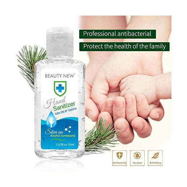 Ploufer 100PCS Desinfectante De Manos Sin Agua 70 Ml, Desinfectante Portátil, Limpiador Enjuague, Tamaño Viaje, En Gel… 10