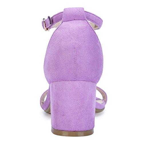 IDIFU Women's Cookie-LO Low Block Heels Chunky Sandals Ankle Strap Wedding Dress Pump Shoes