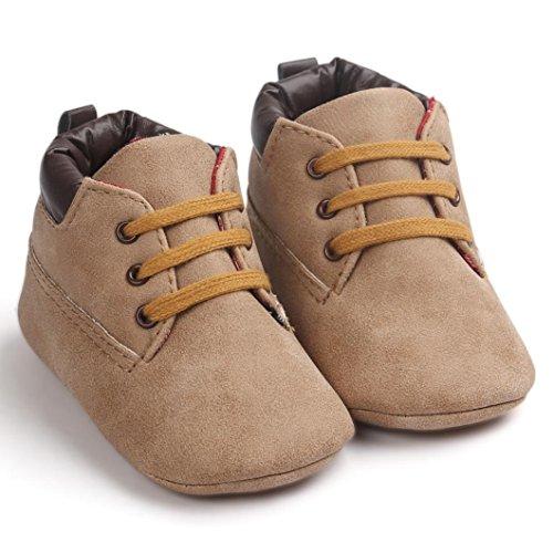 OverDose Unisex-Baby Weiche Warme Sohle Leder/Baumwolle Schuhe Infant Jungen-Mädchen-Kleinkind Schuhe 0-6 Monate 6-12 Monate 12-18 Monate A-Khaki-Leder