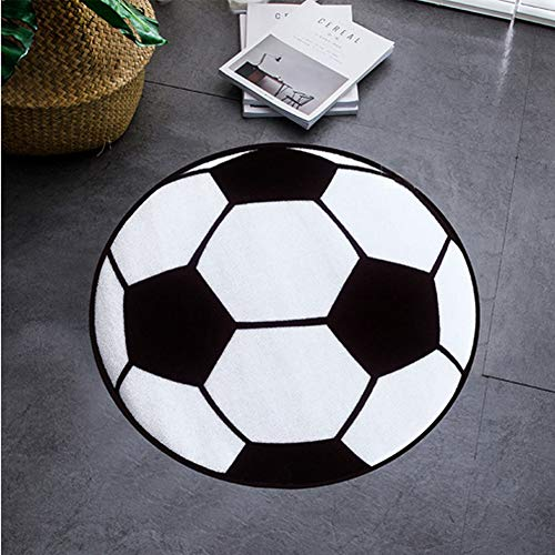KKONION Fashion Black White Football Soccer Round Carpet Children Room Area Rugs Washable Non-Slip Chair Mat Boys Soccer Rug ()