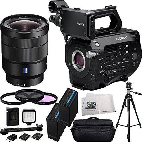 Sony PXW-FS7 4K XDCAM Camera with Super 35 CMOS Sensor + Sony 16-35mm Vario-Tessar T FE F4 ZA OSS E-Mount Lens + 14PC Bundle. Includes 2 Extended Life Replacement Batteries + 3 Piece Filter Kit (UV-CPL-FLD) + Deluxe Camcorder Case + LED Video Light + 72''  by SSE