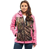TrailCrest Women's Elite Full Zip Softshell Jacket Mossy Oak Camo Patterns (Pink Heather - Small)