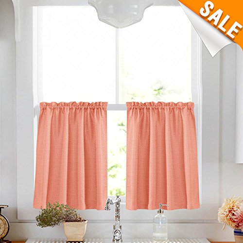 """Lazzzy Tier Curtains for Kitchen 24"""" Water Repellent Cafe Cu"""