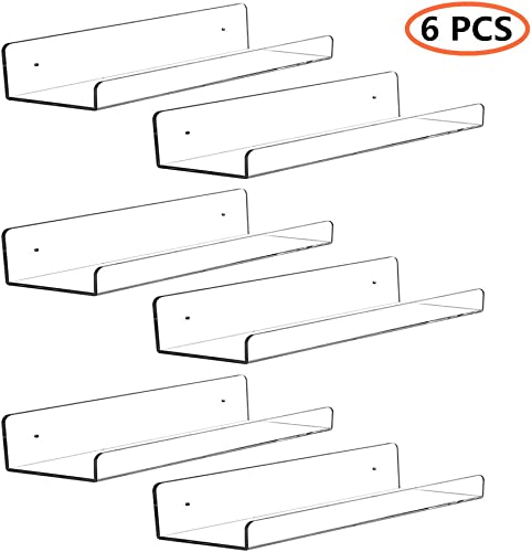 CY craft 6 PCS Acrylic Invisible Floating Bookshelf for Kids Room,15 inch Modern Picture Ledge Display Toy Storage Wall Shelf 5MM Thick U Shelves Storage Rack