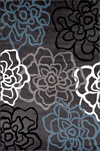 Rugshop Contemporary Modern Floral Flowers Area Rug 5 3
