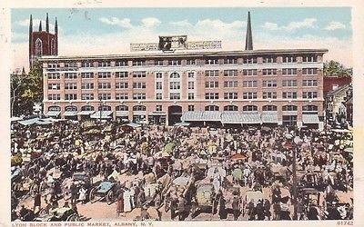 G0122 NY, Albany Lyon Block/Public Market Postcard - Lyons Ny Postcard