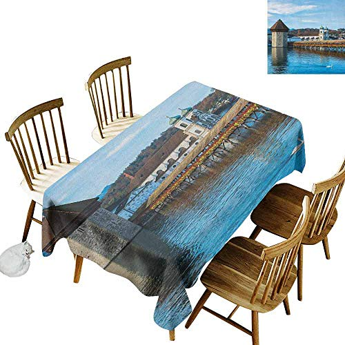 DONEECKL Landscape Oil-Proof Tablecloth Seamless Design Panoramic View of Oak Chapel Bridge Northern Lands Lake European Aged City Print Blue Brown W60 xL84 -