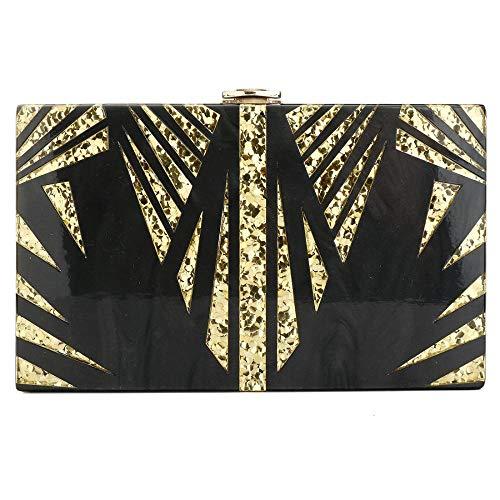 Purse Shiny Clutchs Acrylic Clutch Black Pattern Purse Desiger Handbags Evening Geometrys IBELLA Women qfWwFHn4