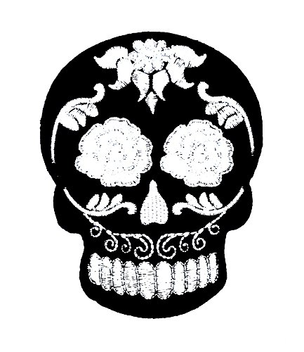 Sugar Skull Flowers Embroidered Iron Sew On Patch Dress Costume badge
