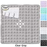 Yimobra Square Shower Mat Non Slip for Bath 21x21 Inch Clear Gray (Presented Wall Hooks 3 Pack)