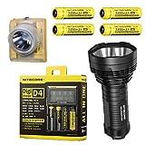 Nitecore TM16GT 3500 Lumen Ultra Long Range Handheld Search Light - 700m Throw w/Nitecore EH1 Headlamp (w/4x NL189 & D4 Charger & Flashlight)