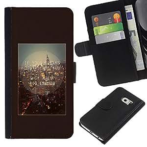 KLONGSHOP // Tirón de la caja Cartera de cuero con ranuras para tarjetas - Londres Inglaterra Cita Marrón texto - Samsung Galaxy S6 EDGE //