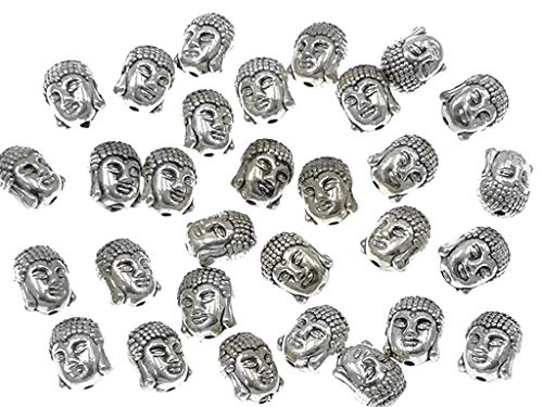 (30pcs Alloy Buddha Tathagata Head Bead Spacer Charm Pendant for DIY Necklace Bracelt Jewelry Making Findings(Tibetan Silver Tone))