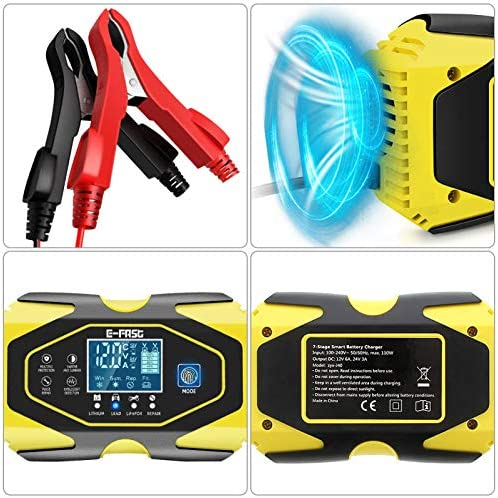 YDBAO Cargador de Bater/ías Coche Moto 12V 6A//24V 3A con M/últiples Protecciones Pantalla LCD para Bater/ía de Litio Plomo-/ácido LiFePO4 etc