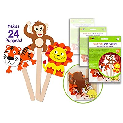 24 Pk Foam Stick Puppets Jungle Animals, Safari Animals Craft Kit, Party Arts & Craft Activity Kit for Boys & Girls , Kids Clean & Neat Fun Self Adhesive Face Stickers - Bulk Pack: Toys & Games