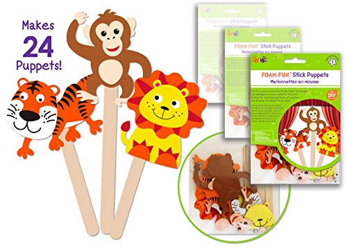 24 Pk Foam Stick Puppets Jungle Animals, Safari Animals Craft Kit, Party Arts & Craft Activity Kit for Boys & Girls , Kids Clean & Neat Fun Self Adhesive Face Stickers - Bulk Pack ()