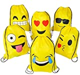 Emoji Drawstring Backpack Bags, 6 Pack Cute Assorted Emoticon Party Favors Supplies Stuff for Kids Teens Girls Boys Gift, 16X13 Inch
