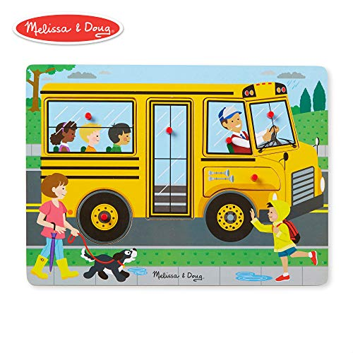 Melissa & Doug The Wheels On The Bus Sound Puzzle (Peg Puzzle, Developmental Toy, 6 Pieces)