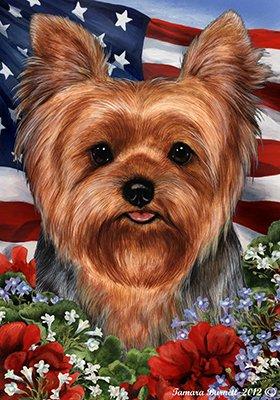 Yorkie Garden Flag - Best of Breed Yorkie Puppy Cut Patriotic Garden Flags