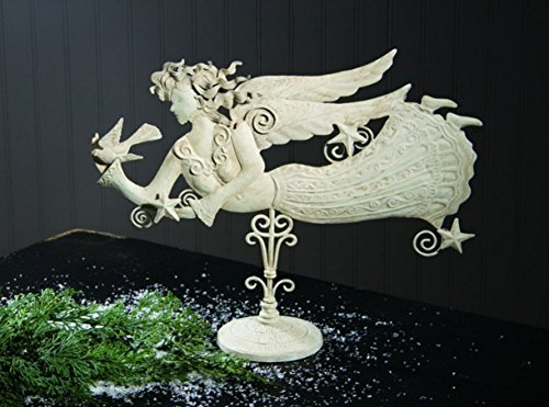 (Metal Antiqued Angel Sculpture Mantel Table)