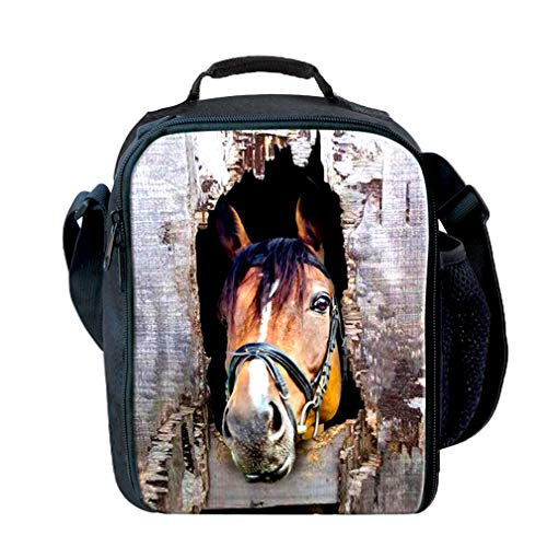 Insulated Children Reusable Lunch Bags For Food Children 3D Horse Lunch Tote Box With Shoulder Adjustable Strap